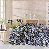 Покрывало для спальни с наволочками стеганное Clasy синее 200*220