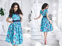 Лёгкое цветное платье со вшитым поясом, пышная юбка.  Арт-5492/48