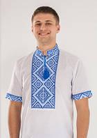 Вышитая мужская рубашка с голубой вышивкой короткий рукав