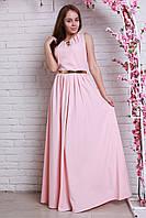 Шикарное вечернее платье из шифона длинное в пол  в модном цвете пудра