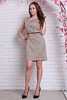 Модное повседневное платье приталенного кроя  в горошек