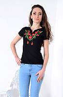 Стильная черная футболка -вышиванка