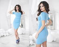 Элегантное приталенное голубое платье, короткий рукав . Арт.-5497/48