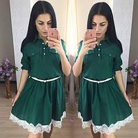 Женское молодежное платье с пояском и кружевом (3 расцветки)