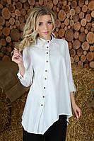 Женская модная удлиненная рубашка из льна свободного кроя