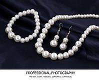 Набор свадебной бижутерии из жемчуга, серьги, браслет, колье