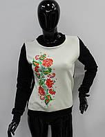 Красивый женский свитшот с цветочным принтом
