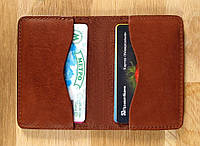 Чехол для карточек - кардхолдер, кожаный, светлокоричневый.