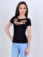 Черная футболка -вышиванка с цветочным орнаментом, фото 1