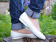 Балетки белые кожаные IK-1665