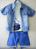Нарядный летний костюм на мальчика из 3-х предметов: рубашка+футболка+шорты