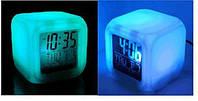 Часы Ночник будильник Кубик хамелеон с термометром