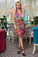 Женское шифоновое летнее короткое платье с принтом