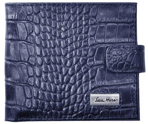 Выразительный мужской кошелек на клапане, кожаный ISSA HARA WB1-1 (23-00)