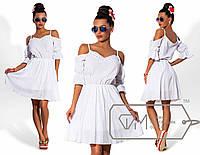 Белое платье с кружевом и открытыми плечиками