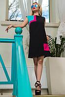 Женское летнее черное платье с геометрическим рисунком