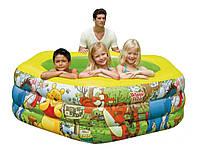 Детский бассейн Интекс 57494 Winnie the Pooh: 191х178х61 см, клапан слива воды, надувное дно