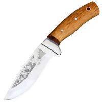 """Нож Спутник """"Дубовый Секач-2"""" (длина: 22.8cm, лезвие: 11cm), в кожаных ножнах"""