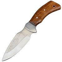 """Нож Спутник """"Клык"""" (длина: 23.4cm, лезвие: 11.5cm), в кожаных ножнах"""