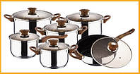 Набор кастрюль (4 шт) + ковш + сковорода