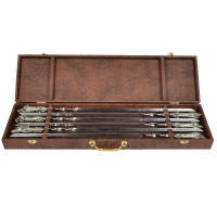 Шампуры ручной работы рукоять латунь/мельхиор, в деревянном кейсе