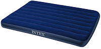 Надувной матрац Intex 68759 Classic Downy Bed: 152х203х22 см, винил, клапан под любой насос, синий