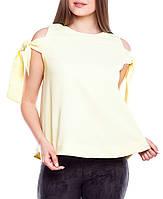 """Женская свободная блузка с открытыми плечами """"Синтия голд"""""""