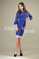 Платье женское из трикотажа с кружевом синее 44-46