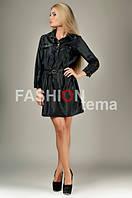 Женское платье плащевка черное с поясом 42
