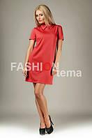 Женское платье трикотаж красное 44