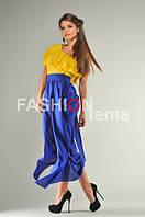 Платье женское из крепа желто синего цвета размер универсальный 42-44