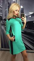 Платье женское стеганый трикотаж, бирюза