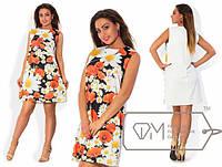 Женское короткое летнее платье с цветами 48-54
