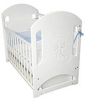 Кроватка для новорожденных Соня ЛД 8 (декор резьба Мишка со стразами) Верес белый