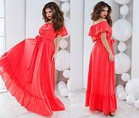 Коралловое шикарное летнее платье в пол. Арт-5122/48