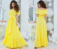 Жёлтое шикарное летнее платье в пол. Арт-5122/48