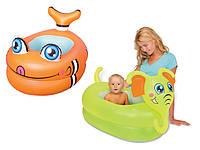 Детский надувной бассейн маленький 51125 Bestway, виниловый 0,25 мм, объем 25 л, модель Рыбка/Слоник на выбор