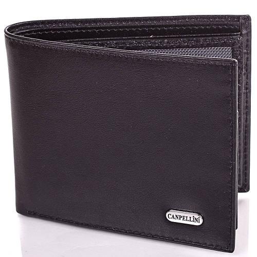 Красивый мужской кожаный кошелек CANPELLINI (КАНПЕЛЛИНИ) SHI1044-2 черный