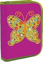 Пенал твёрдый одинарный на молнии с двумя клапанами Butterfly
