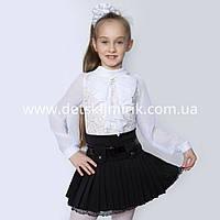 """Блузка школьная для девочки """"Гипюр"""" длинный рукав 152р"""