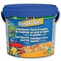Корм в виде хлопьев для всех видов прудовых рыб JBL Pond Flakes (ЖБЛ) 10,5 л