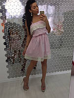 Женское хлопковое не жаркое платье с кружевом, 2 цвета