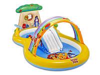 Надувная водная горка 57136 Винни Пух, Intex, 2+, винил, душ, шарики, воздушная арка, 282*173*107 см