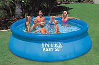 Большой надувной бассейн Intex 366х91см круглый, артикул 28144, серия Easy Set, 6734 л, воздушное кольцо