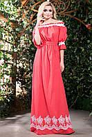 Летнее Длинное Платье из Батиста с Вышивкой Коралловое S-3XL