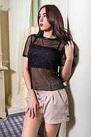 Женская прозрачная нарядная черная блуза | Сетка+Гипюр