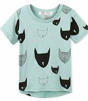 Хлопковая легкая футболка с котами. Унисекс.92, 98, 104, 110, 116 см