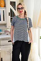 Женская летняя блузка в полоску с ассиметричным низом