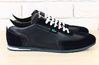 Кожаные мужские кроссовки с вставками замши Lacoste, синие