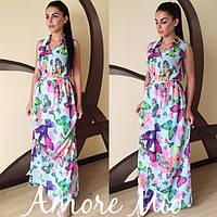 Платье длинное в пол макси с бабочками SML222